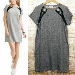 Derek Heart Lace-Up Shoulder Knit T-Shirt Dress